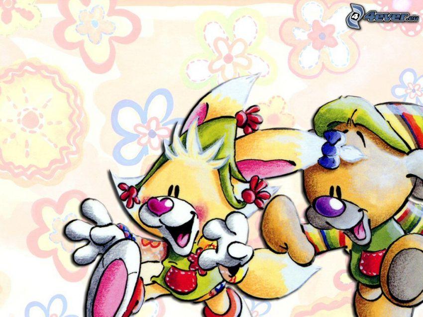 Mimihopps, Pimboli, teckning, karaktär, springa, lycka, blomma