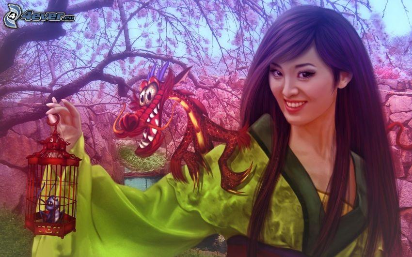 Mulan, tecknad drake, myra, bur