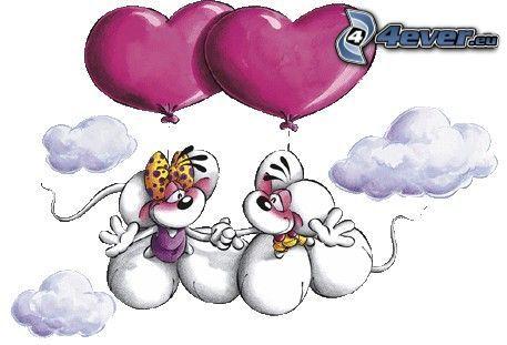 mus, moln, hjärtan