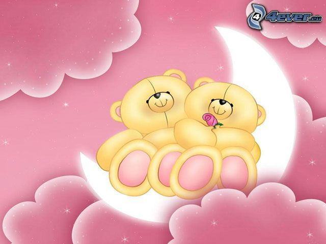 nalle, måne, moln, rosa, tecknat