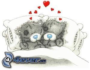 nalle, säng, kudde