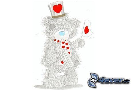 nalle, tecknat, kärlek, hjärta