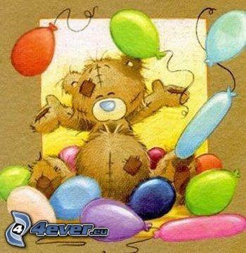 nalle med ballonger, kalas