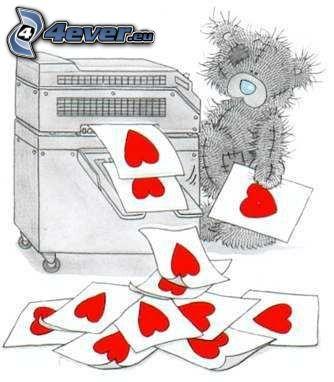 nalle och hjärtan, skrivare