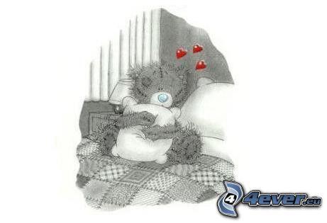 nallebjörn med kudde, hjärtan