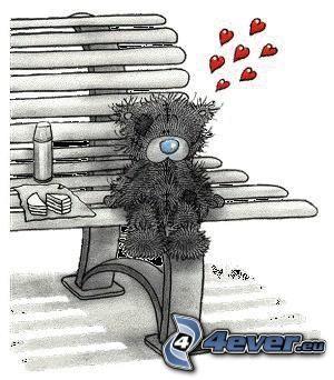 nallebjörn på bänk, hjärtan