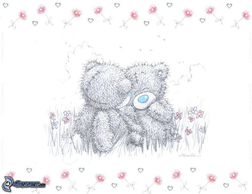 nallebjörnar, hjärtan, kärlek, blommor, äng