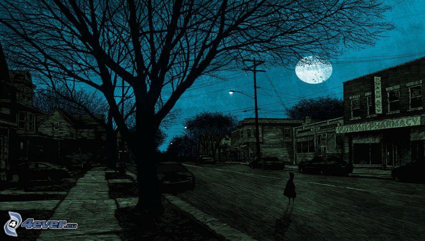 natt, gata, måne, siluett av ett träd