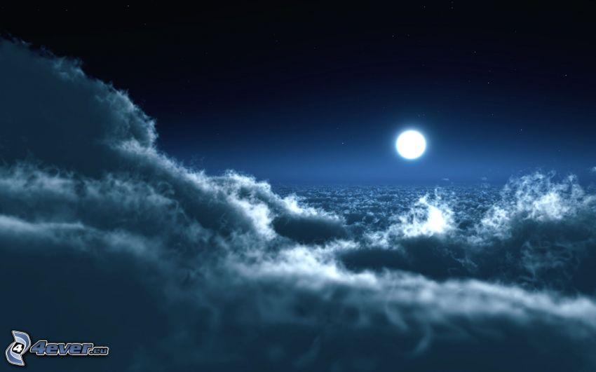 natt, måne, ovanför molnen