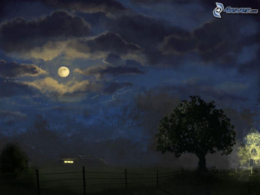 natt, måne, träd, staket, hus