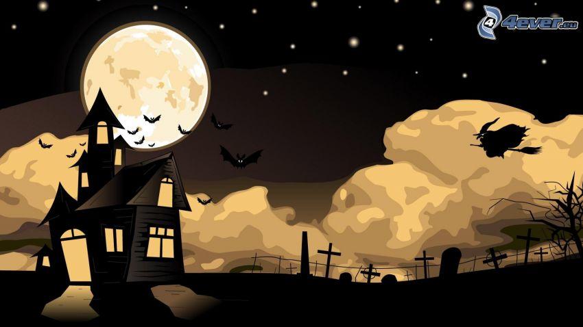 natt, tecknat hus, häxa, måne
