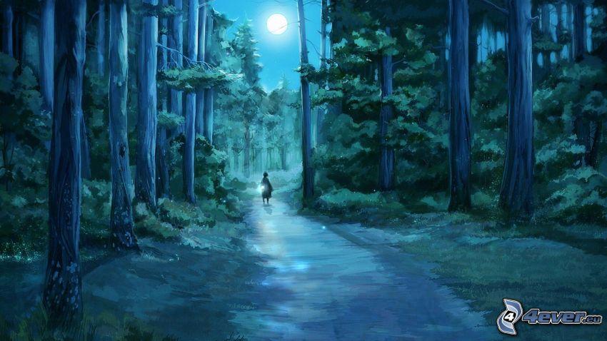 nattskog, stig genom skog, måne, flicka, barn, teckning