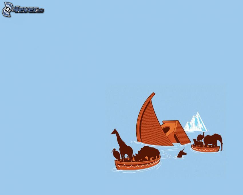 Noas ark, översvämning, roddbåtar, djur