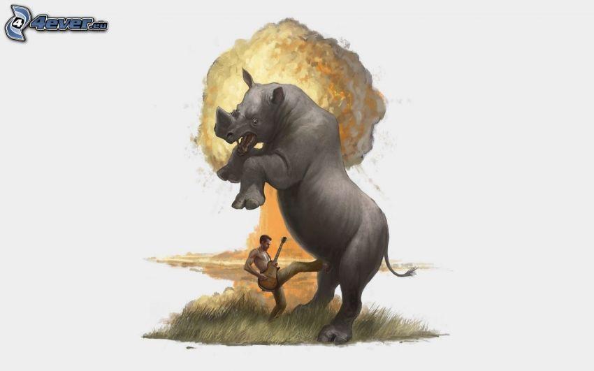 noshörning, gitarrspelare