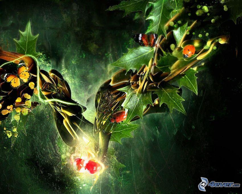nyckelpiga, fjäril, gren