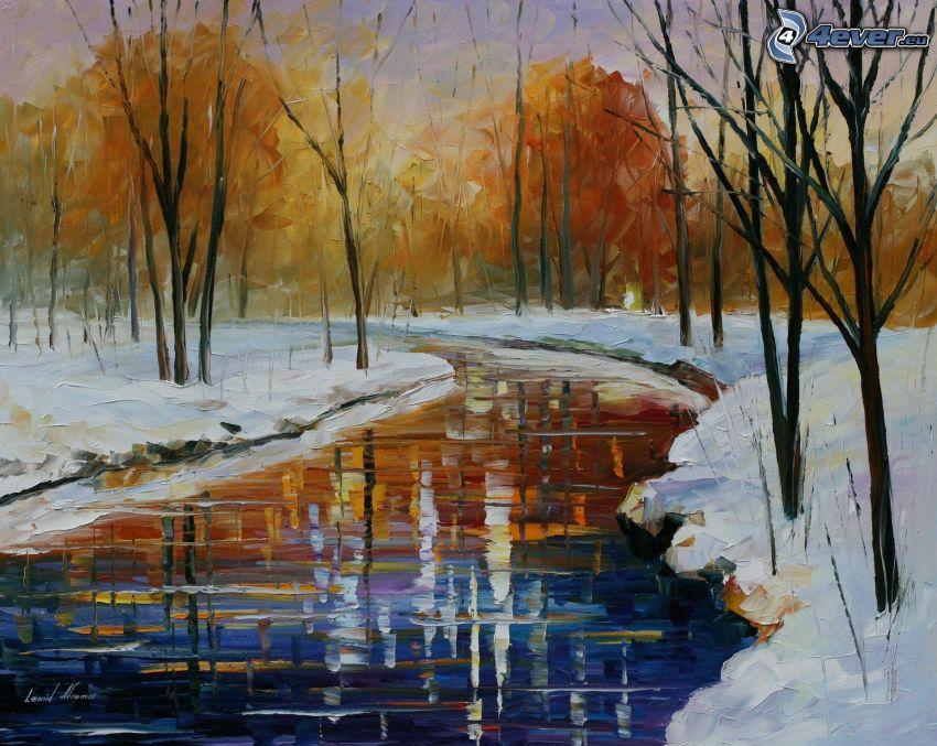 oljemålning, flod, träd, snö