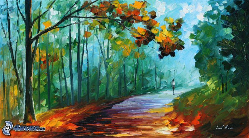 oljemålning, skogsväg, trottoar, skog