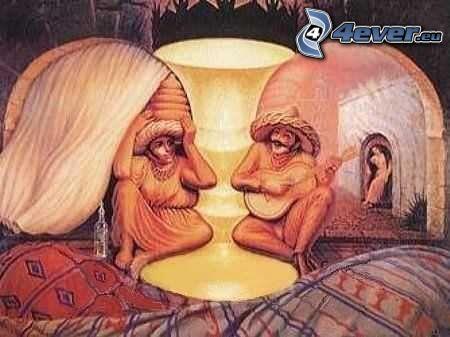 optisk illusion, gubbe och gumma, Mexikaner