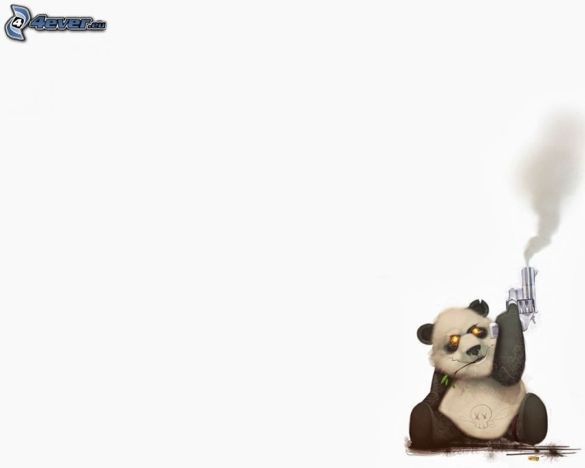 panda, pistol, rök