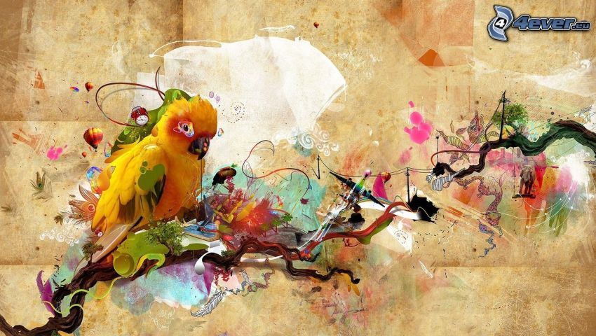papegoja, abstrakt