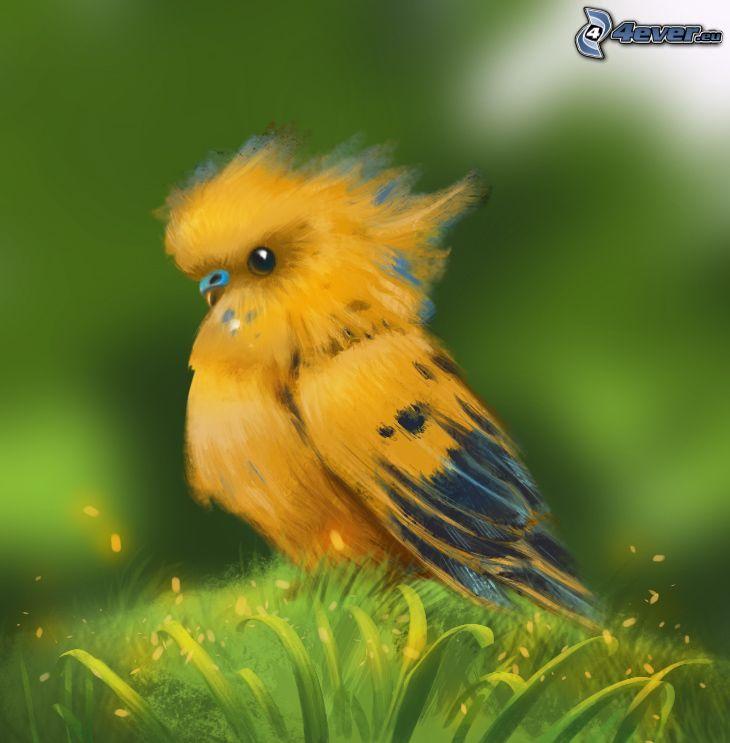 papegoja, gul fågel