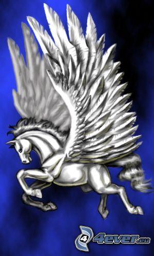 Pegasus, vingar, vit häst