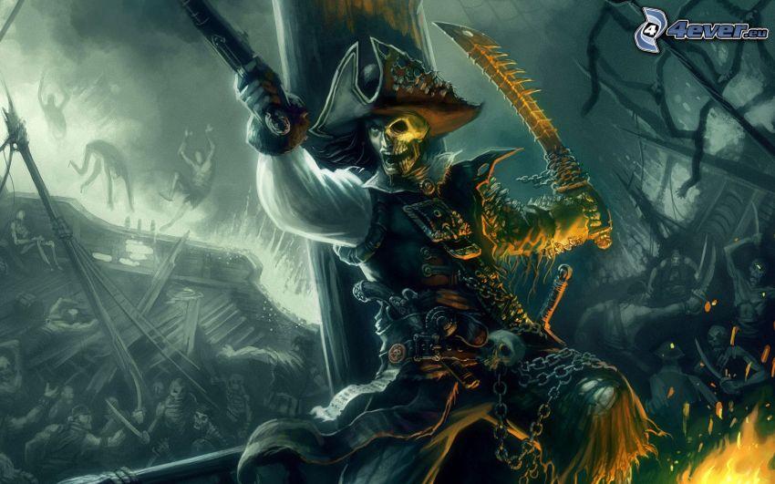 pirat, dödskalle