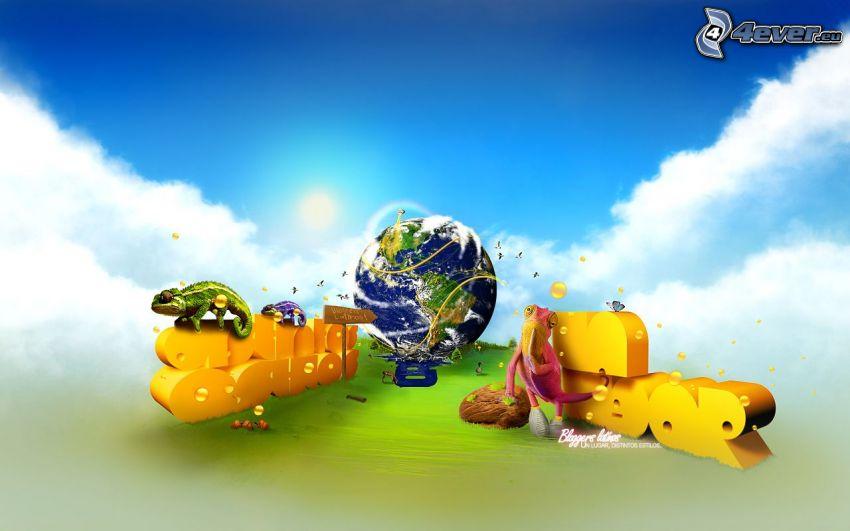 planeten Jorden, bokstäver, kameleonter, skylt