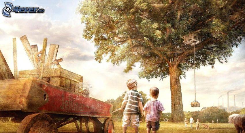 pojkar, kärra, träd