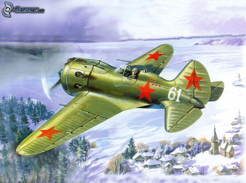 Polikarpov I-16, snöigt landskap