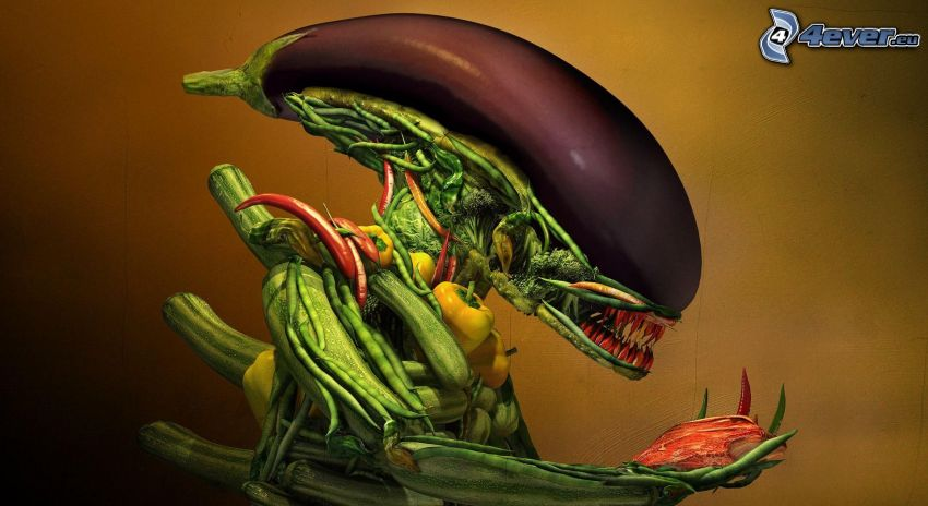 Predator, grönsaker, aubergine, paprika