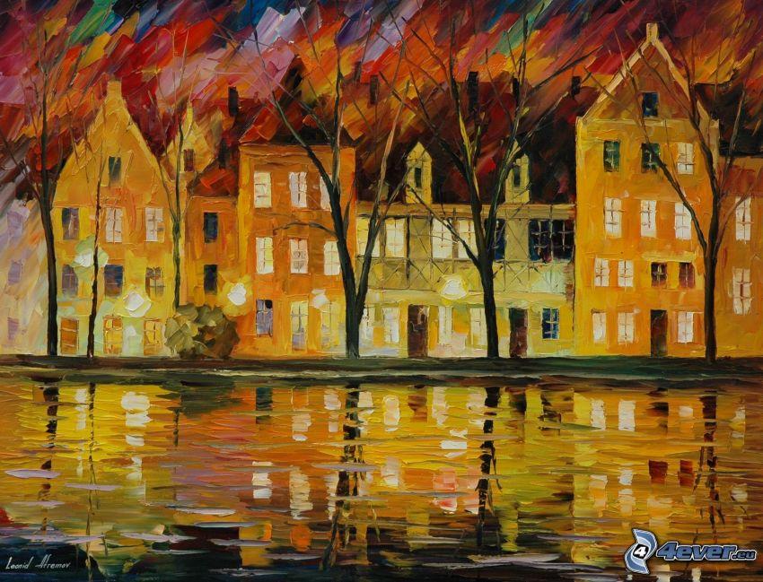 radhus, flod, tecknad stad, bild