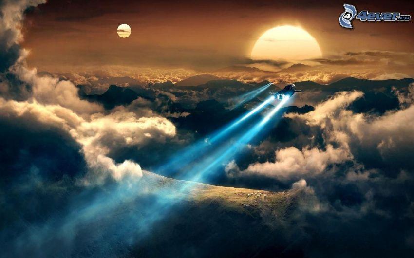 raket, ovanför molnen, sol