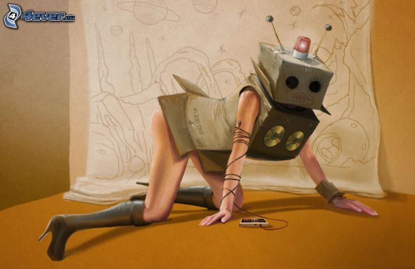 robot, kvinna, mask, kostym