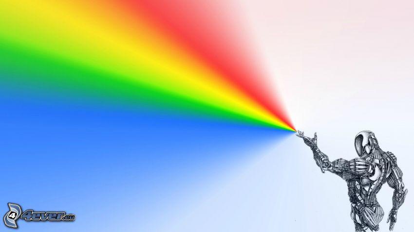 robot, regnbågsfärger