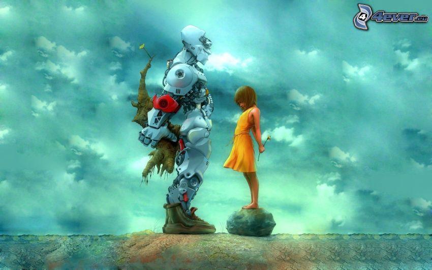 robot, tjej