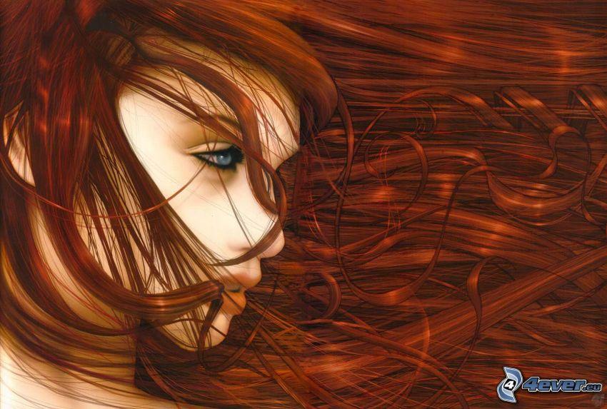 rödhårig, tecknad flicka