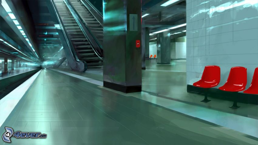 rulltrappa, tunnelbana