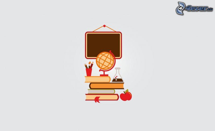 saker, jordklot, böcker, äpple, tavla