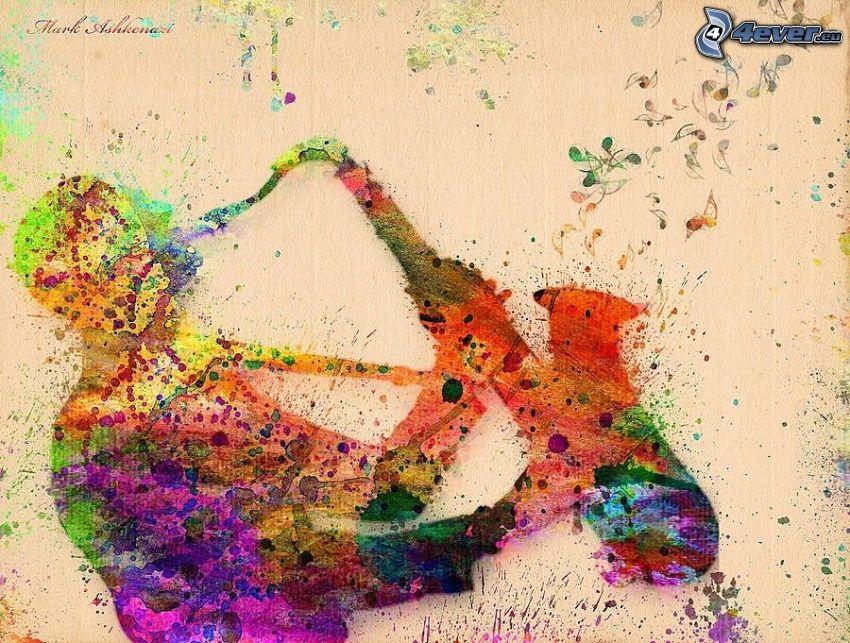 saxofonist, saxofon, färger