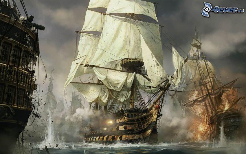 segelbåt, fartyg, slagsmål