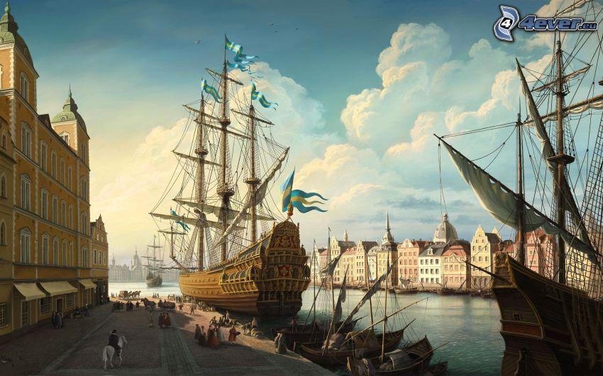 segelbåt, hamn, fartyg, stad