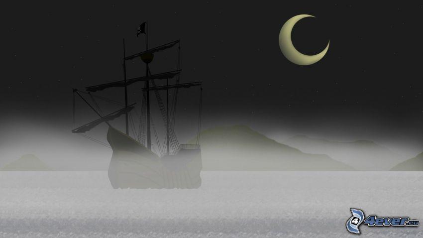 segelbåt, silhuett, måne, hav