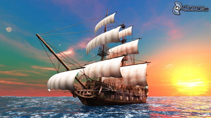 segelbåt, solnedgång över hav