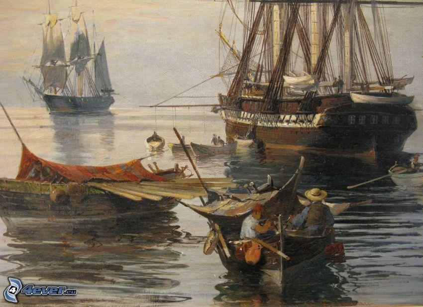 segelbåtar, båtar, fartyg