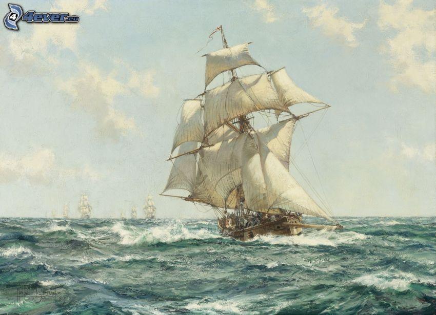segelbåtar, hav, vågor