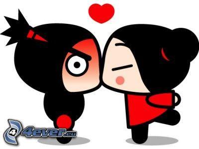 seriefigurer, kyss, hjärta, tecknat par