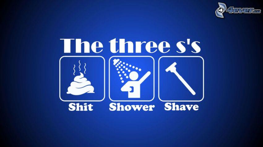 shit, shower, shave, blå bakgrund