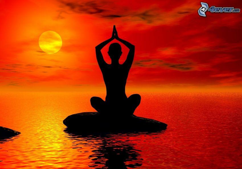 silhuett av kvinna, yoga, benen i kors, sol, röd himmel, hav