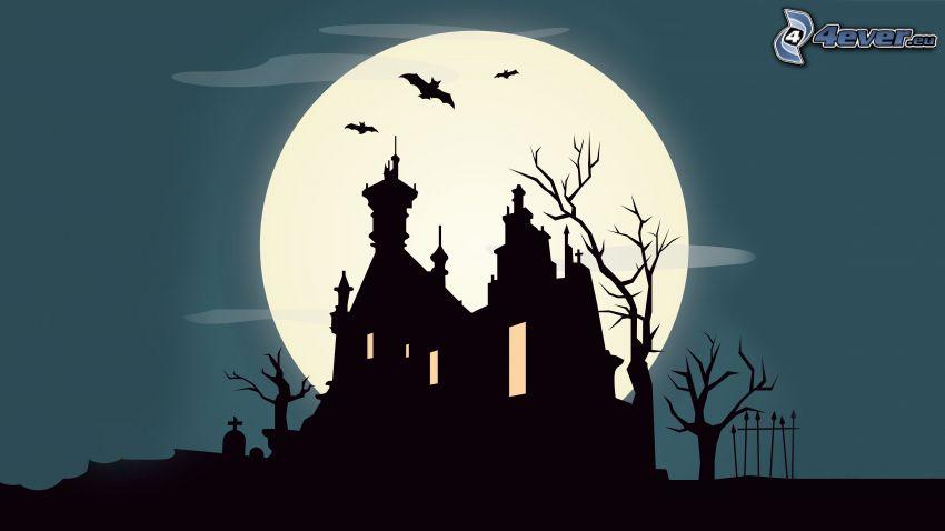 silhuett av kyrka, måne, fladdermöss